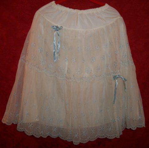 white and blue petticoat