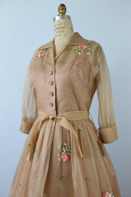 1950's champagne sheer rose dress silk