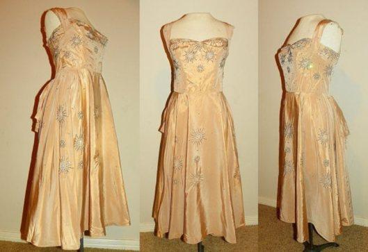 1950s taffetacocktail dress starburst