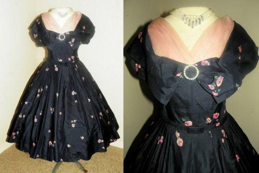 black rose silk dress