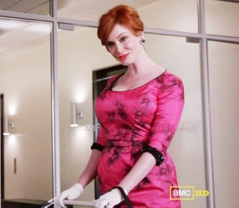 joan pink dress mad men
