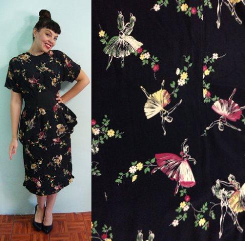 1940's rayon dress