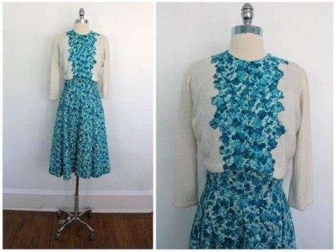 floral dress and cardi set