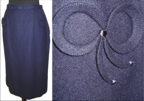 navy skirt with bows